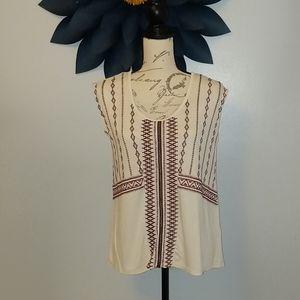 Jessica Simpson cream embroidered sleeveless top